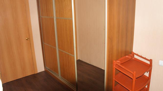 шкаф купе в прихожей с большим зеркалом в квартире посуточно