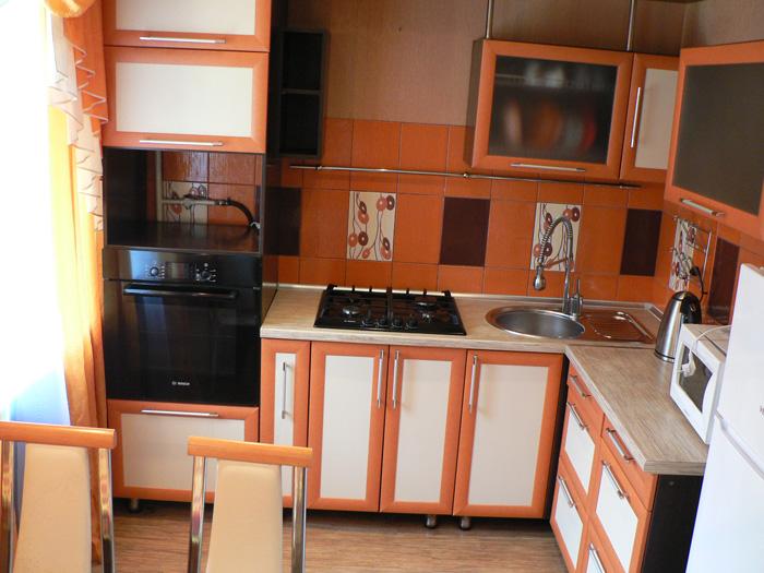 кухня - холодильник, микроволновка, плита